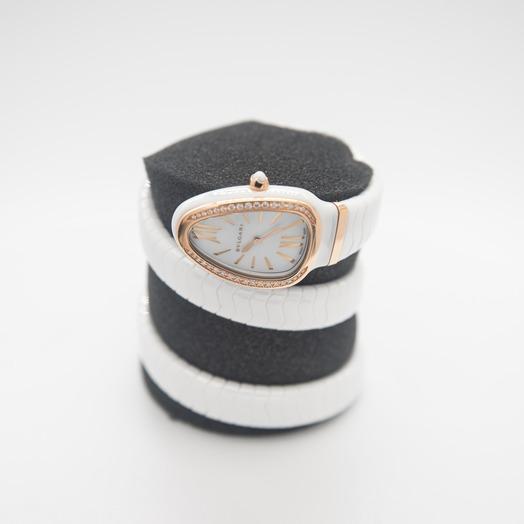 Bvlgari Serpenti Spiga Quartz White Lacquered Dial Diamond Ladies Watch 102886