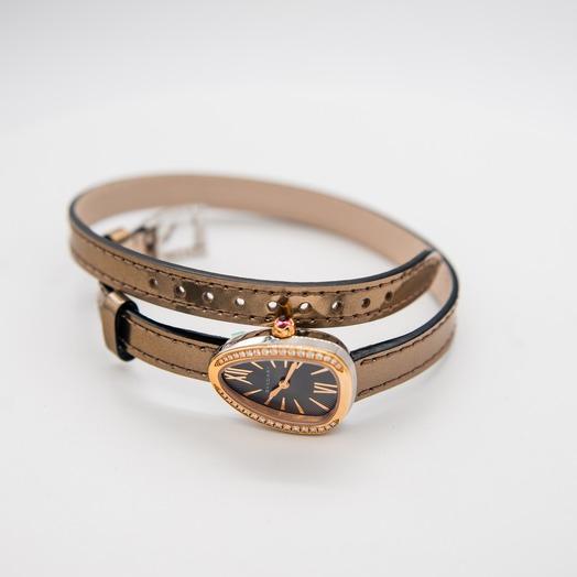 Bvlgari Serpenti Quartz Grey Dial Diamond Bezel Ladies Watch 102968