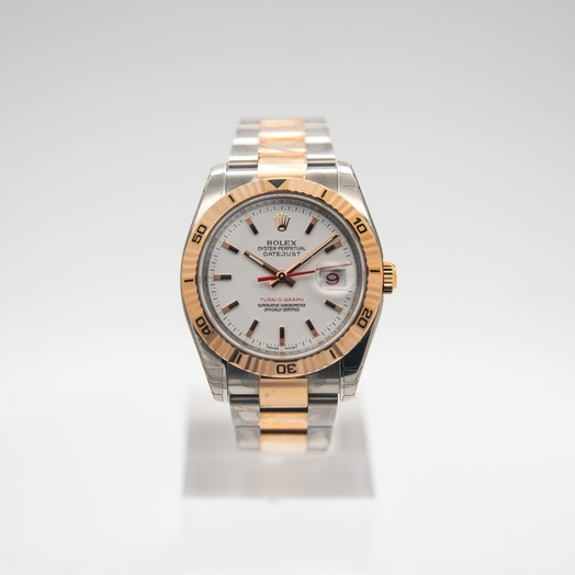 Rolex Datejust 36mm-Steel and Gold Pink Gold-Turn-O-Graph-Oyster 116261-SSO