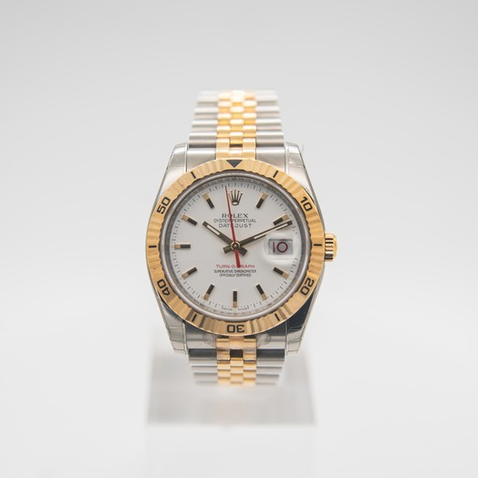 Rolex Datejust 36mm-Steel and Gold Pink Gold-Turn-O-Graph-Jubilee/White