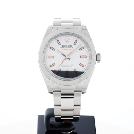 Rolex Milgauss White Dial Stainless Steel Oyster Bracelet Automatic Men's Watch 116400 White