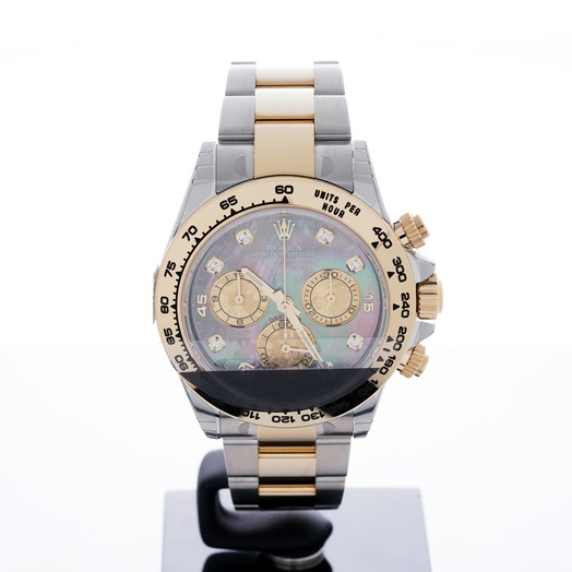 Rolex Cosmograph Daytona 18ct Yellow Gold Automatic Black Mother Of Pearl Dial Diamonds Men's Watch 116503-0009G