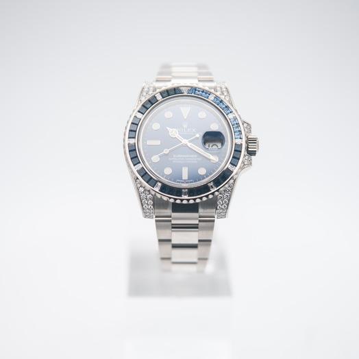 Rolex Submariner 18K White Gold Diamond Bezel Automatic Blue Dial Unisex Watch 116659SABR-0001