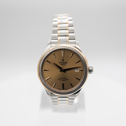 Tudor Style Swiss Yellow Gold Automatic Champagne Dial Men's Watch 12503-0001
