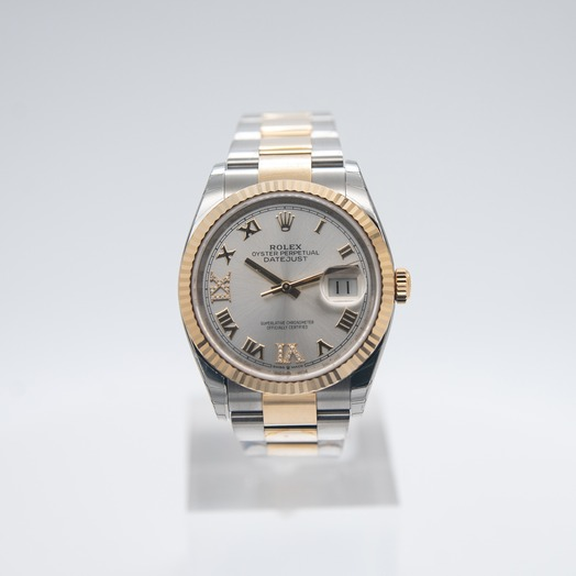 Rolex Datejust 36 Steel And 18ct Yellow Gold Automatic Silver Diamond Dial Unisex Watch 126233-0032G