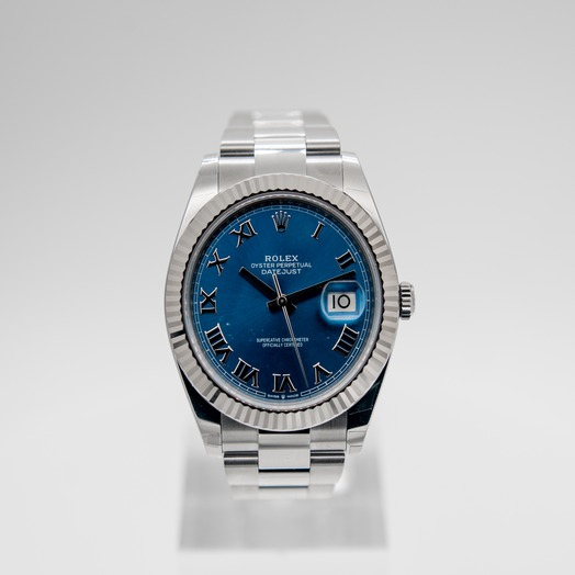 Rolex Datejust 41 Stainless Steel Fluted / Blue Roman / Oyster41mm 126334-0025