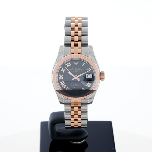 Rolex Lady Oyster Perpetual Black/18k rose gold Ø26 mm 179171/5