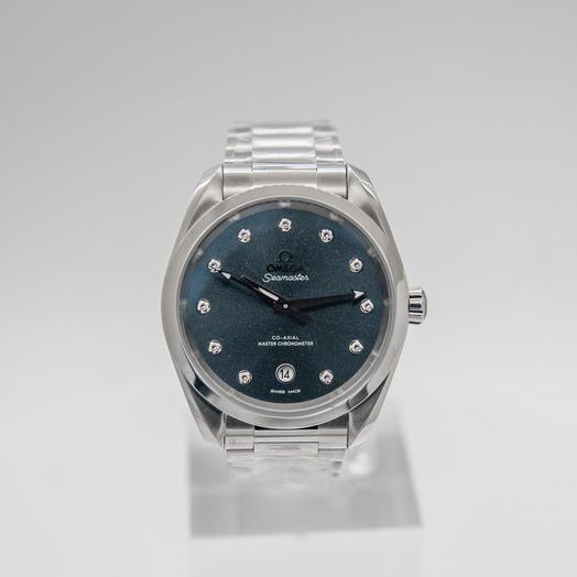 Omega Seamaster Aqua Terra 150M Co‑Axial Master Chronometer Ladies 38mm Automatic Blue Dial Diamonds Steel Ladies Watch 220.10.38.20.53.001
