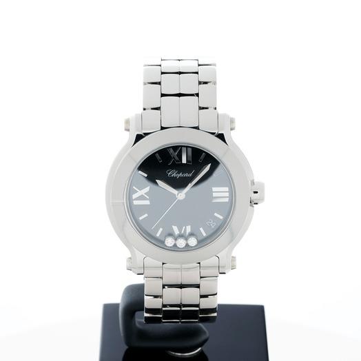 Chopard Happy Sport Quartz Black Dial Diamonds Unisex Watch