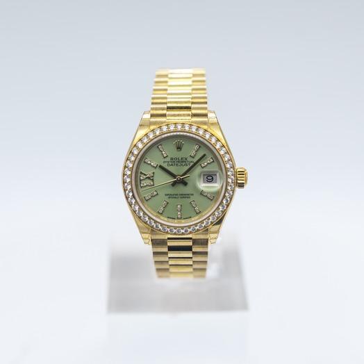 Rolex Lady-Datejust 18ct Yellow Gold Automatic Cornflower Green Diamond Dial Ladies Watch