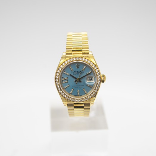 Rolex Lady-Datejust 18ct Yellow Gold Automatic Cornflower Blue Diamond Dial Ladies Watch