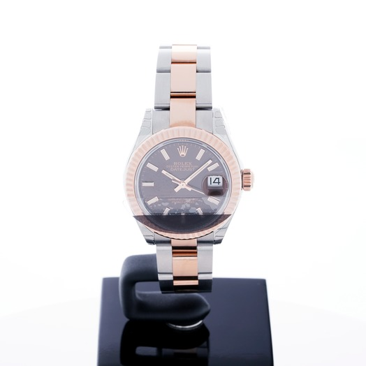 Rolex Lady-Datejust 28 Rolesor Rose Fluted / Oyster / Chocolate 279171-0018