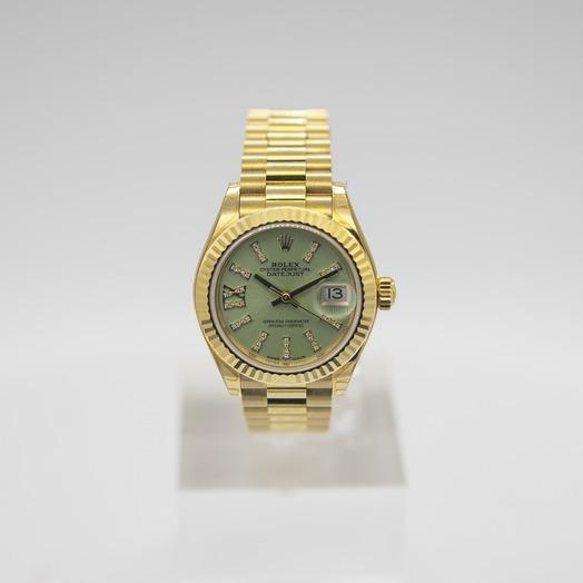 Rolex Lady-Datejust 18ct Yellow Gold Automatic Cornflower Green Diamond Dial Ladies Watch 279178-0008