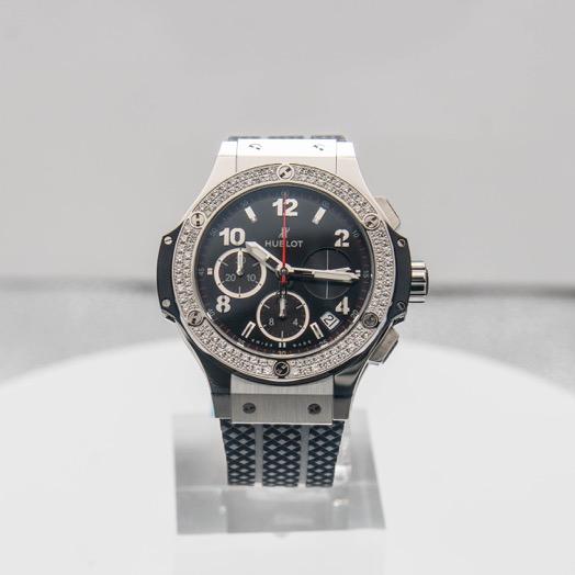 Hublot Big Bang Steel Diamonds Automatic Black Dial Men's Watch 341.SX.130.RX.114
