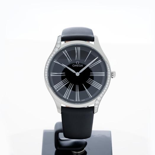 Omega De Ville Tresor Quartz 39mm Quartz Black Dial Diamonds Ladies Watch 428.17.39.60.01.001