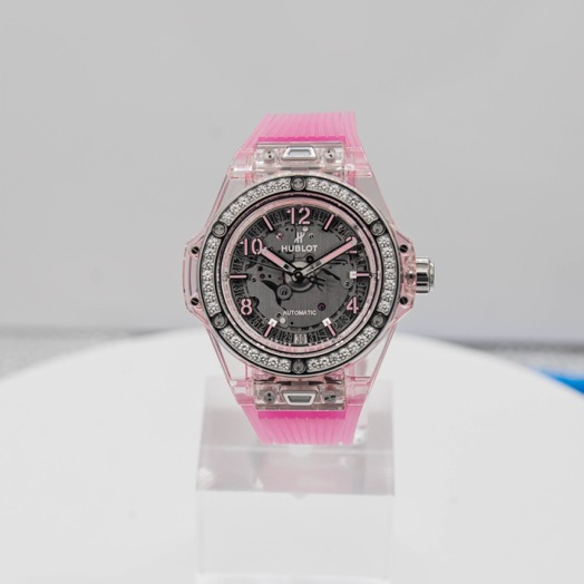 Hublot Big Bang One Click Pink Sapphire Diamonds Automatic Skeleton Dial Unisex Watch 465.JP.4802.RT.1204