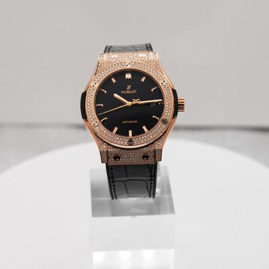 Hublot Classic Fusion Automatic Black Dial Diamonds 18kt Rose Gold Men's Watch 542.OX.1181.LR.1704