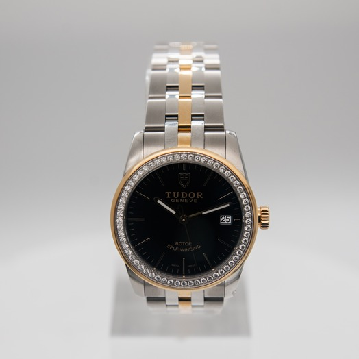 Tudor Glamour Date Swiss Yellow Gold Automatic Black Dial Diamonds Unisex Watch 55023-0021