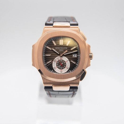 Patek Philippe Nautilus Brown Dial 18K Rose Gold Men's Chronograph Watch 5980R-001