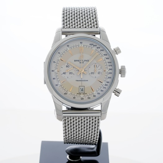 Breitling Transocean Chronograph Automatic Silver Dial Men's Watch AB015412/G784