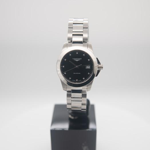 Longines Conquest Quartz Black Dial Diamond Ladies Watch L33774576