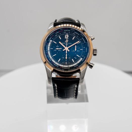Breitling Transocean Unitime Pilot World Time Chronograph Automatic Black Dial Men's Watch UB0510U4/BC26