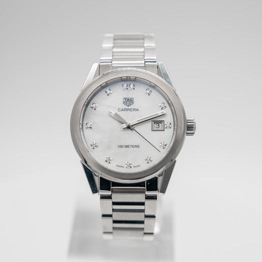 TAG Heuer Carrera Ladies Quartz Mother Of Pearl Dial with Diamonds Ladies Watch